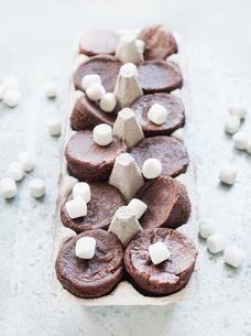 Chocolate brownies and marshmallows in cardboard cartonの写真素材 [FYI03553155]
