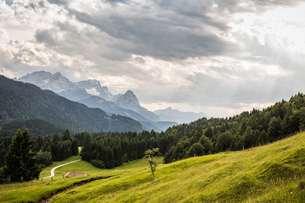 View into german Alps; highest german mountain Zugspitze in the background, Gerold, Bavaria, Germanyの写真素材 [FYI03553940]