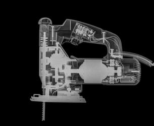 X-ray of a jigsaw power toolの写真素材 [FYI03553988]