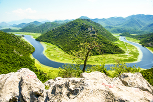 Aerial view of Crnojevic river, Montenegroの写真素材 [FYI03554058]