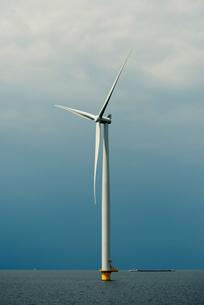 Offshore wind turbine, IJsselmeer lake, Espel, Flevopolder, Netherlandsの写真素材 [FYI03554518]