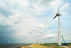 Windfarm offshore and on land, IJsselmeer lake, Espel, Flevopolder, Netherlandsの写真素材 [FYI03554522]