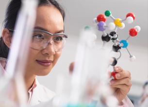 Scientist using molecular model to understand chemical formulaの写真素材 [FYI03554866]