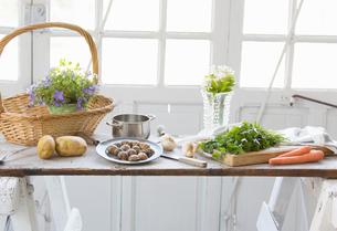 Fresh snails, wild herbs and garlic on kitchen counter, Vogogna,Verbania, Piemonte, Italyの写真素材 [FYI03555723]