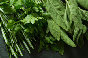 Rosemary, Sage and parsley on slateの写真素材 [FYI03556143]