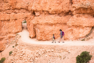 Mother and son, hiking the Queens Garden/Navajo Canyon Loop in Bryce Canyon National Park, Utah, USAの写真素材 [FYI03556689]