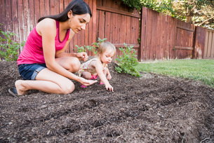 Mother and young daughter planting seeds in gardenの写真素材 [FYI03556710]