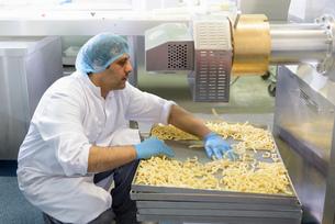Worker checking fresh spaghetti in pasta factoryの写真素材 [FYI03556753]