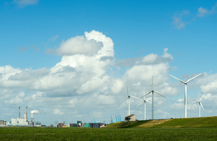 Windfarm on dyke, and distant coal fired power plant at Rotterdam harbour, South Holland, Netherlandの写真素材 [FYI03556942]