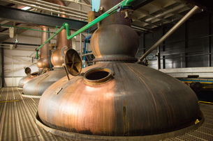 Copper whisky stills in whisky distilleryの写真素材 [FYI03556972]