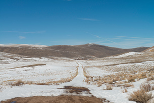 Snow covered track, Bodie ghost town, California, USAの写真素材 [FYI03557052]