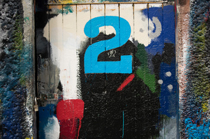 Number 2 door and paint covered wall in ship painters yardの写真素材 [FYI03557142]