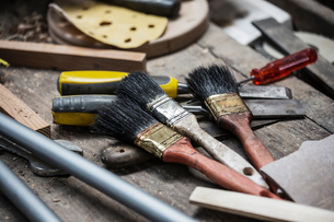 Variety of paint brushes and toolsの写真素材 [FYI03557479]