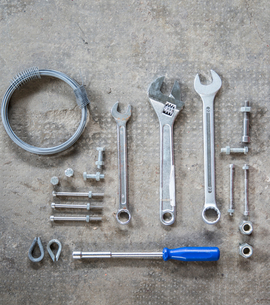 Nuts, screws, wrench, screwdriverの写真素材 [FYI03557499]