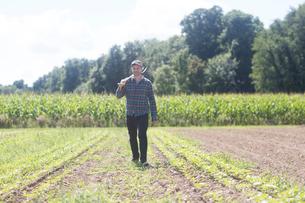 Farmer in field carrying spade on shoulderの写真素材 [FYI03558335]