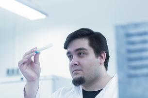 Scientist examining sample in test tubeの写真素材 [FYI03558526]