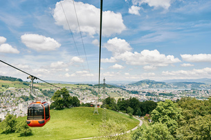 Elevated view of cable car and landscape, Mount Pilatus, Switzerlandの写真素材 [FYI03559185]