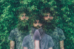 Triple exposure portrait of transparent young man and green foliageの写真素材 [FYI03559262]