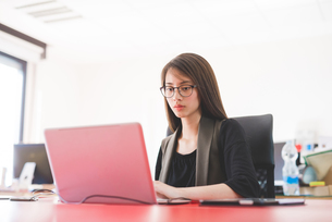 Young woman at office desk typing on laptopの写真素材 [FYI03559618]