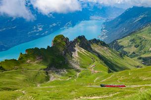 Train travelling through mountains, Brienzer Rothorn, Bernese Oberland, Switzerlandの写真素材 [FYI03561262]