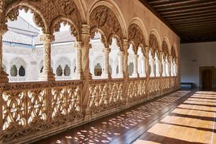 Stone carved balcony around courtyard, Museo Nacional de Escultura , Valladolid, Spainの写真素材 [FYI03561315]