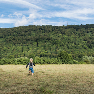 Rear view of boy running in field, Porta Westfalica, North Rhine Westphalia, Germanyの写真素材 [FYI03561572]