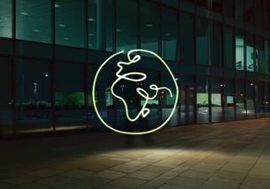 Illuminated planet earth symbolの写真素材 [FYI03561719]