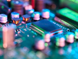 Close up of hi-tech electronic circuit boardの写真素材 [FYI03561886]