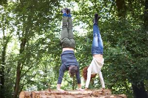 Couple in forest doing handstand on fallen treeの写真素材 [FYI03562019]
