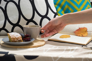 Hand of woman with cup of coffee and cake on sofaの写真素材 [FYI03562072]