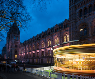 Illuminated spinning carousel by Natural History Museum at dusk, London, UKの写真素材 [FYI03562082]