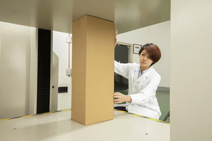 Female technician placing cardboard box on packaging machine in printing and packaging factory, Chinの写真素材 [FYI03563139]