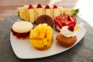 Assortment of fruit and pastriesの写真素材 [FYI03564287]