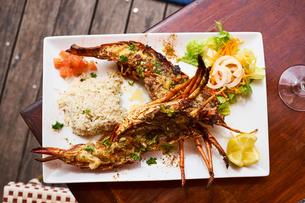Light seafood dishの写真素材 [FYI03564297]