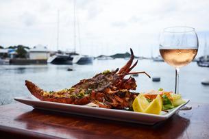 Light seafood dish, glass of rose wineの写真素材 [FYI03564299]