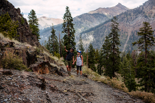 Mid adult couple hiking along pathway, Mineral King, Sequoia National Park, California, USAの写真素材 [FYI03564467]