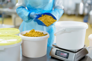Worker weighing curry powder in Asian food factoryの写真素材 [FYI03565360]