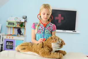 Girl pretending to be vet examining toy tiger using stethoscopeの写真素材 [FYI03565396]
