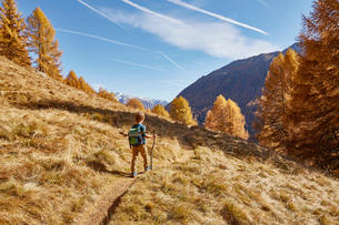 Young boy hiking along pathway, rear view, Schnalstal, South Tyrol, Italyの写真素材 [FYI03566038]