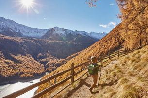 Young boy hiking along pathway, rear view, Schnalstal, South Tyrol, Italyの写真素材 [FYI03566051]