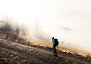 Young woman trekking along pathway, Missoula, Montana, USAの写真素材 [FYI03567637]