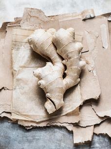Studio shot, overhead view of root ginger on torn cardboardの写真素材 [FYI03570677]