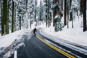 Skateboarder travelling on road in winter landscape, Sequoia National Park, California, USAの写真素材 [FYI03570978]