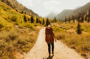 Woman wearing backpack, walking along rural pathway, rear view, Mineral King, Sequoia National Park,の写真素材 [FYI03571180]