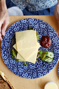 Cheese, salad and dressing on plate, overhead viewの写真素材 [FYI03571197]