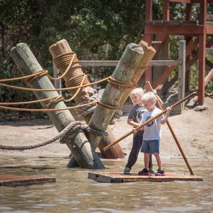 Boys holding sticks standing on raftの写真素材 [FYI03571667]