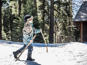 Young boy walking in snow using wooden sticks, Sequoia National Park, California, USAの写真素材 [FYI03571674]
