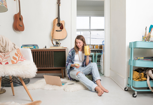 Woman sitting in living room using laptopの写真素材 [FYI03572044]
