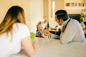 Family sitting at kitchen table, young son holding sippy cup, father putting on neck tieの写真素材 [FYI03573241]