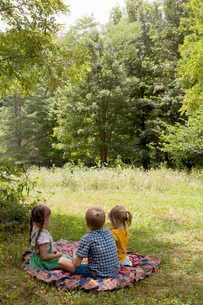 Three young children sitting on blanket in fieldの写真素材 [FYI03573533]